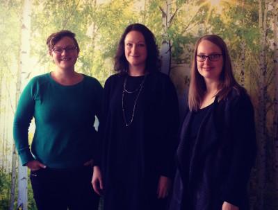 Luisa Streckenbach (Stellvertreterin), Sandra Hildebrandt (Sprecherin) und Mareike Engels (Sprecherin) (von links nach rechts, fehlend: Gesine Märtens)